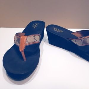 Coach Brown and Tan Wedge Flip flop size 9.5